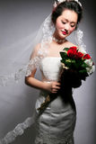 Beautiful bride. Beautiful Asian bride isolated on gray background stock images