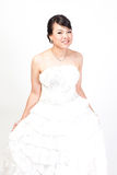 Beautiful bride asian on white background. Royalty Free Stock Image