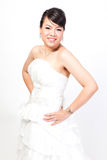 Beautiful bride asian on white background. Royalty Free Stock Photo