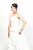 Beautiful bride asian on white background. Stock Photo