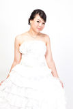 Beautiful bride asian on white background. Stock Photography