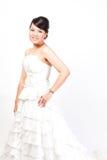 Beautiful bride asian on white background. Royalty Free Stock Photos