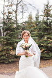 Beautiful bride in the autumn or winter park Royalty Free Stock Images