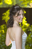 Beautiful bride backlit royalty free stock photography