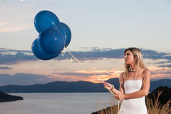 Beautiful bride with balloons Royalty Free Stock Photos