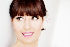 Beautiful bride with bangs face closeup Royalty Free Stock Images
