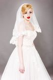 Beautiful bride and beautiful wedding dress Royalty Free Stock Photography