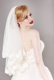 Beautiful bride and beautiful wedding dress Royalty Free Stock Photo