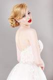 Beautiful bride and beautiful wedding dress Stock Photos