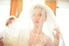 Beautiful bride behind the veil Stock Photos