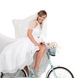 Beautiful bride on bicycle Royalty Free Stock Images