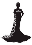 Wedding Silhouette. Beautiful bride black silhouette on white background royalty free illustration