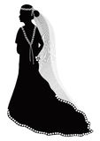 Wedding Silhouette 2. Beautiful bride black silhouette on white background stock illustration