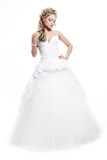 Beautiful bride blond girl in white wedding dress Royalty Free Stock Image