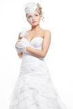 Beautiful bride blond girl in white wedding dress Royalty Free Stock Photo
