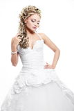 Beautiful bride blond girl in white wedding dress Stock Photography