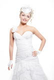 Beautiful bride blond girl in white wedding dress Royalty Free Stock Photography
