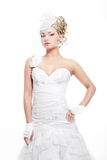 Beautiful bride blond girl in white wedding dress Royalty Free Stock Images