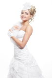 Beautiful bride blond girl in white wedding dress Stock Image