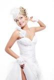 Beautiful bride blond girl in white wedding dress Royalty Free Stock Photo