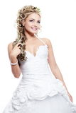 Beautiful bride blond girl in white wedding dress Stock Photo