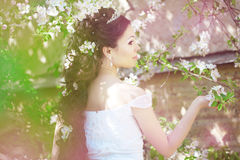 Beautiful bride in a blossoming garden. The image of a beautiful bride in a blossoming garden Stock Images