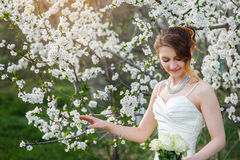 Beautiful bride in a blossoming spring garden Royalty Free Stock Image