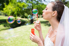 Beautiful bride blowing bubbles in garden Stock Photos
