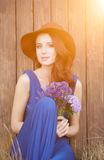 Beautiful bride in blue dress Royalty Free Stock Photo