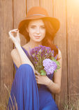 Beautiful bride in blue dress Royalty Free Stock Image