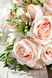 Wedding bouquet of white freesias and pink roses Stock Photography