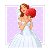 Beautiful bride with bunch of roses Stock Photos