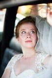 Beautiful bride. Beautiful the bride in car Stock Photo