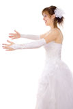 Beautiful bride catch Stock Photo