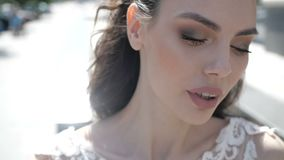 A beautiful bride close up stock video