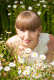 Beautiful bride in daisies Stock Photos