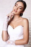 Beautiful bride with dark hair in elegant wedding dress and gloves Royalty Free Stock Photo