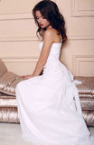 Beautiful bride with dark hair wearing elegant wedding dress Stock Images