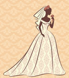 Beautiful bride in dress. Vintage silhouette of beautiful bride in dress Royalty Free Stock Images