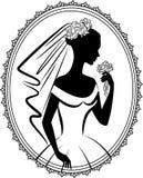 Beautiful bride in dress. Vintage silhouette of beautiful bride in dress Royalty Free Stock Image