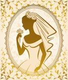 Beautiful bride in dress. Vintage silhouette of beautiful bride in dress Royalty Free Stock Photos