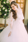 Beautiful bride in elegant white wedding dress and veil with long curly hair posing indoors Stock Photos