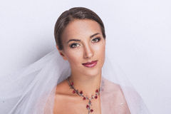 Beautiful bride face. Perfect Bride Dreams Desire Beautiful beauty pretty smiling happy professional photo portrait photo model face red lips looking opened eyes Stock Photos
