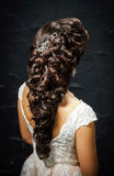 Beautiful bride with fashion wedding hair-style Stock Photo