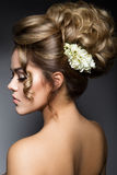 Beautiful bride with fashion wedding hairstyle. Stock Photos