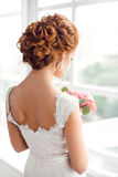 Beautiful bride with fashion wedding hairstyle stock image