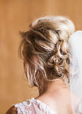 Beautiful bride with fashion wedding hairstyle close-up Royalty Free Stock Images