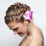 Beautiful bride with fashion wedding hairstyle Royalty Free Stock Photography