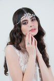 Beautiful bride with fashion wedding hairstyle and make up Stock Photography
