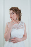 Beautiful bride with fashion wedding hairstyle and make up Royalty Free Stock Image